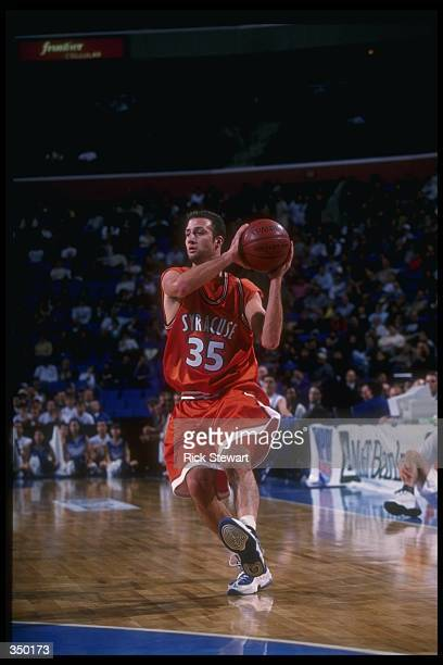 Guard Jason Cipolla of the Syracuse Orangemen moves the ball during a game against the Buffalo Bulls at the Marine Midland Arena in Buffalo New York...
