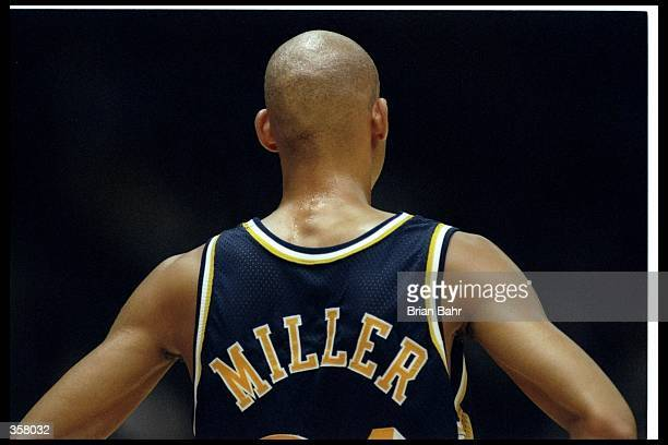 Guard Reggie Miller of the Indiana Pacers looks on during a game against the Los Angeles Lakers at the Great Western Forum in Inglewood California...