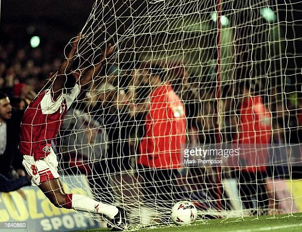 Ian Wright of Arsenal runs into the back of the net during an FA Carling Premiership match against Southampton at Highbury in London Arsenal won the...