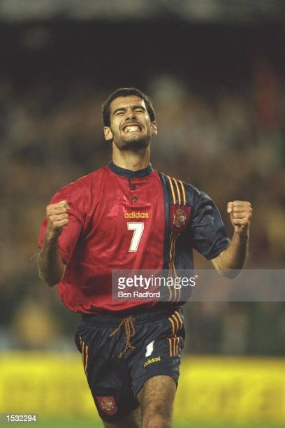 Josep Guardiola of Spain celebrates after scoring from the penalty spot during the World cup qualifier between Spain and Yugoslavia in Valencia Spain...