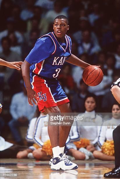 Paul Pierce of Kansas University controls the ball during the Jayhawks 96-83 win over UCLA at the Pauley Pavilion in Westwood, California. Mandatory...