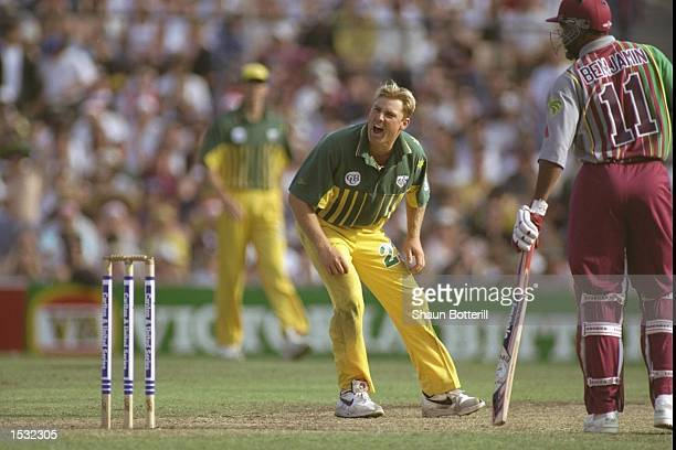 Shane Warne of Australia appeals during the one day international between Australia and the West Indies in Sydney,Australia. Mandatory Credit: Shaun...