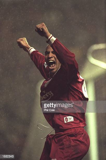 Stan Collymore of Liverpool celebrates after scoring during the FA Carling Premier league match against Nottingham Forest aat Anfiled in Liverpool...