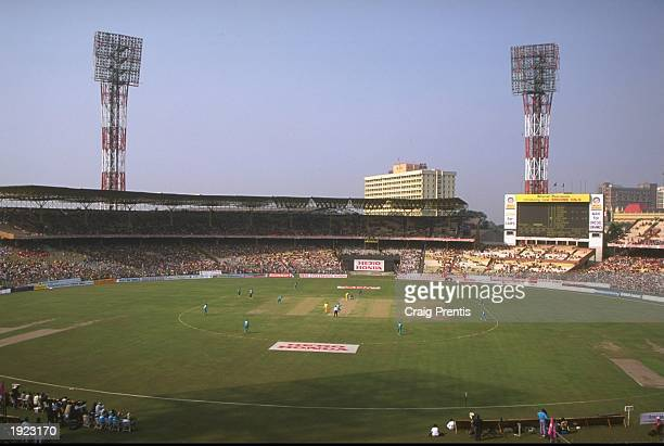 A general view of the Women's Cricket World Cup Final between Australia and New Zealand at Eden Gardens in Calcutta India Australia won the match by...