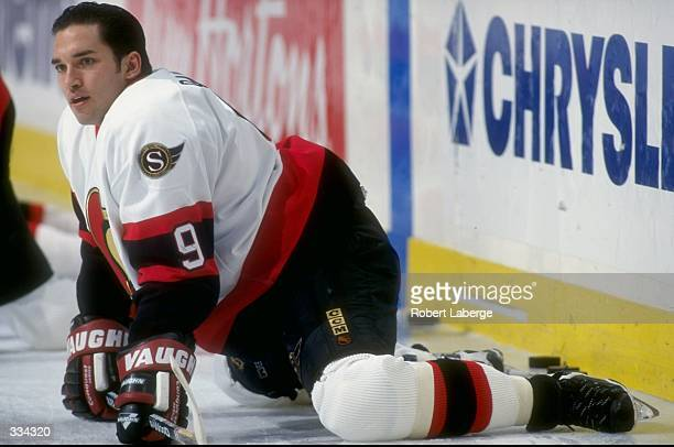 Alexandre Daigle of the Ottawa Senators stretches before the game against the Montreal Canadiens at the Molson Center in Montreal Canada Montreal...