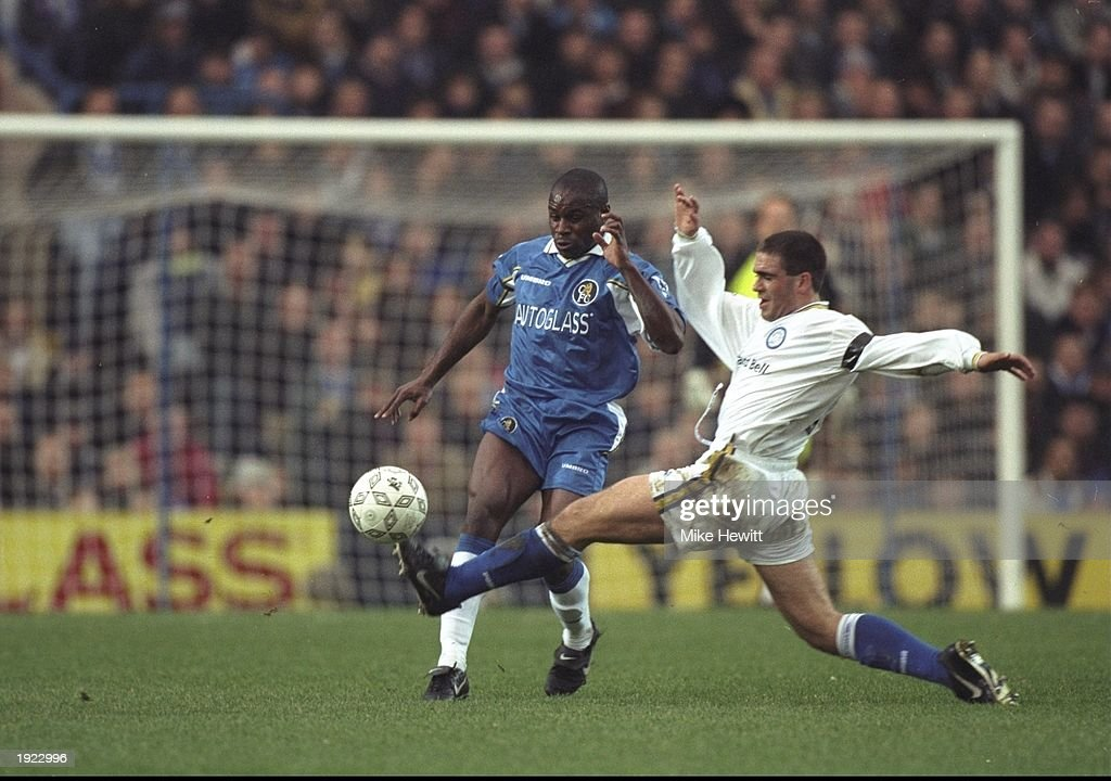 Bruno Ribeiro (right) of Leeds United stretches to tackle Frank Sinclair of Chelsea during the FA Carling Premiership match at Stamford Bridge in London. The game ended 0-0. \ Mandatory Credit: Mike Hewitt /Allsport