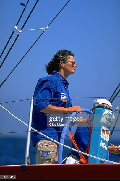 Christine Guillou of France skipper of the Swedish Whitbread 60 EF Education while sail testing during the Fremantle stopover of the Whitbread Round...