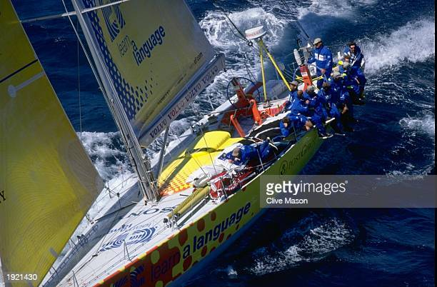 Everything that moves is stacked on the windward rail as skipper Paul Cayard of the USA makes a great start and leads the fleet away from Fremantle...