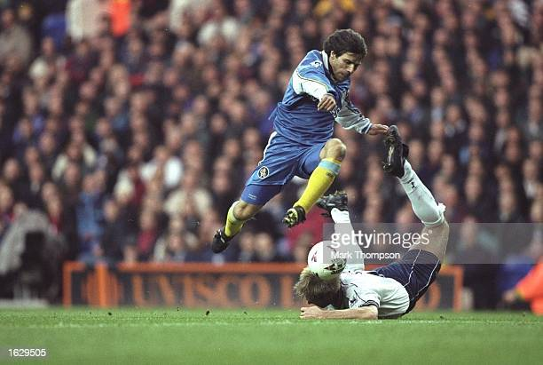 Gianfranco Zola of Chelsea takes on John Scales of Tottenham Hotspur during an FA Carling Premiership match at White Hart Lane in London Chelsea won...