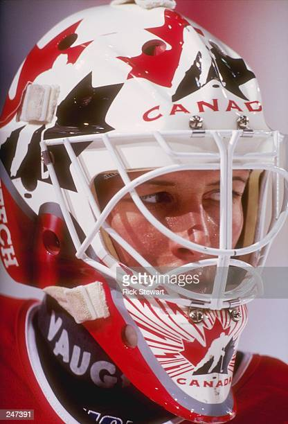 Goaltender Manon Rheaume of Canada in action on the ice during the 3 Nations Cup Championship game against the United States at the 1980 Rink L in...