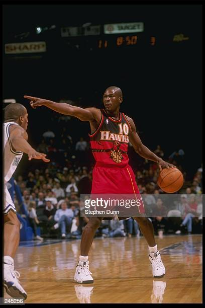 Guard Mookie Blaylock of the Atlanta Hawks in action during a game against the Dallas Mavericks at Reunion Arena in Dallas Texas The Hawks won the...