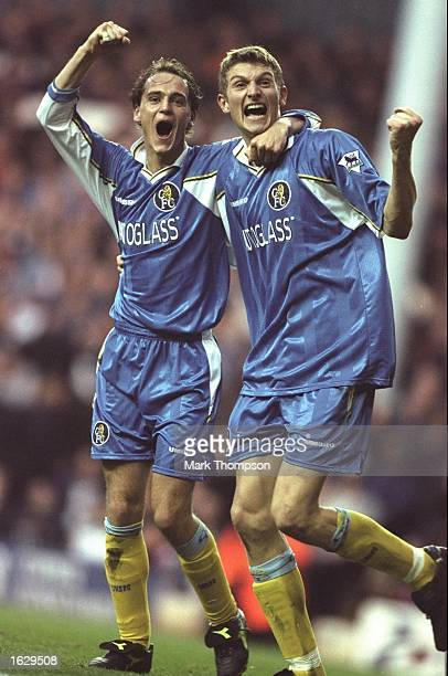 Mark Nicholls and Tore Andre Flo of Chelsea celebrate after an FA Carling Premiership match against Tottenham Hotspur at White Hart Lane in London...