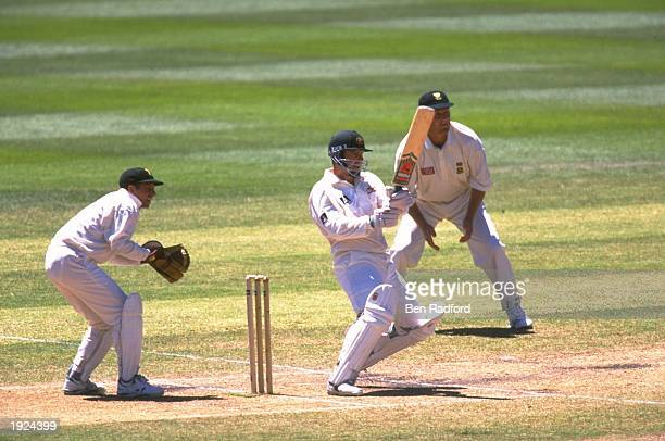 Mark Taylor of Australia batting during the first test match against South Africa at the MCG in Melbourne Australia The match ended a draw Mandatory...