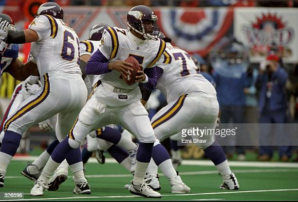 Quarterback Randall Cunningham of the Minnesota Vikings in action during the Vikings 23-22 win over the New York Giants at Giants Stadium in East...