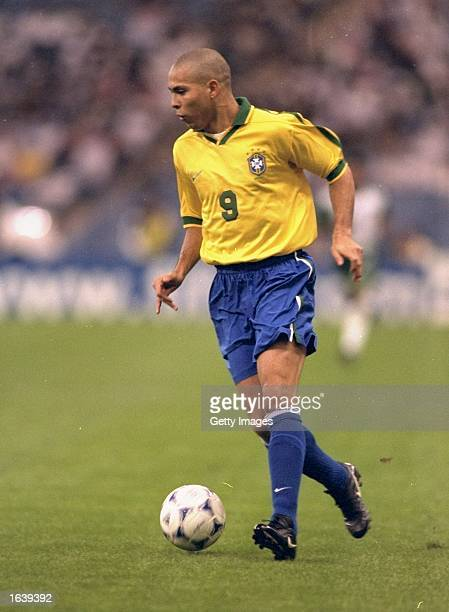 Ronaldo of Brazil in action during the Confederation Cup match against Saudia Arabia at the King Fahd Stadium in Riyadh Saudi Arabia Brazil won the...