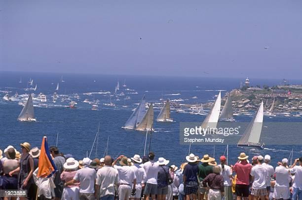 The leaders pass the Sydney Heads at the start of the Telestra Sydney to Hobart Race Australia Mandatory Credit Stephen Munday /Allsport