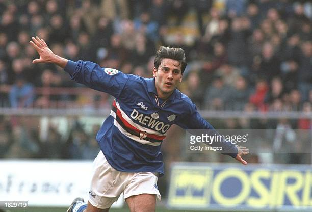 Vincenzo Montella of Sampdoria celebrates a goal during the Serie A match against Inter Milan at the Lulgi Ferraris in Genoa Italy The match was...