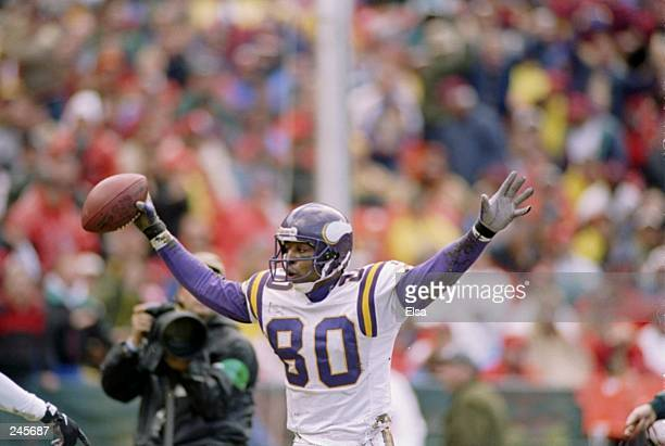 Wide receiver Cris Carter of the Minnesota Vikings celebrates a touchdown during a game against the San Francisco 49ers at 3Com Park in San Francisco...