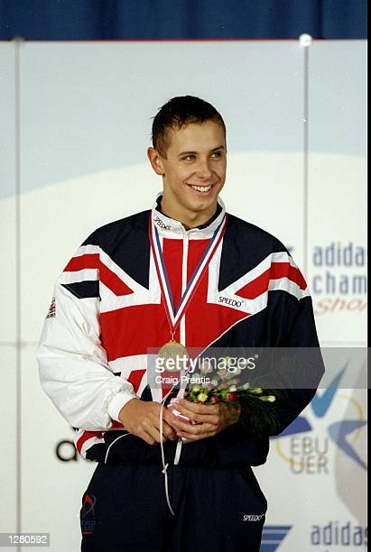 Adam Whitehead of Great Britain wins the 200m Breast Stroke at the European Short Course Championships at Ponds Forge in Sheffield, England. \...