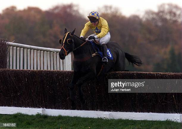 Adrian Maguire and Silent Cracker clear the last fence at Sandown Park to go on and score an easy victory in The PO Developments Novices Steeple...