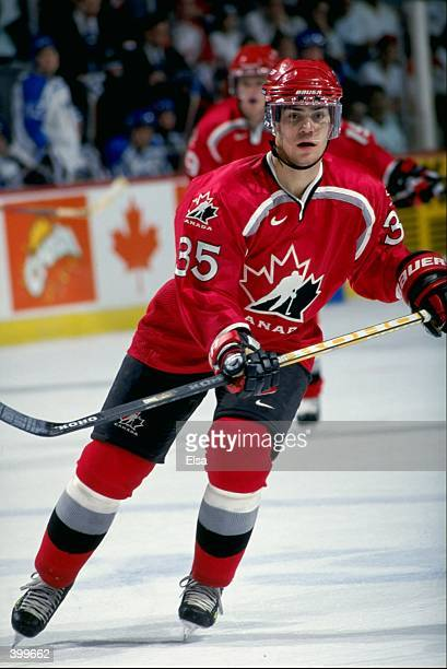 Brad Leeb of Team Canada in action during the World Junior Hockey Championships Game against Team Findland at the Winnepeg Arena in Winnepeg Manitoba...
