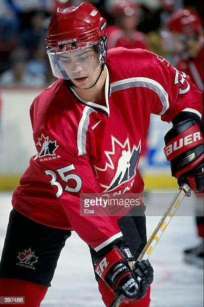 Brad Leeb of Team Canada practicing during warm ups before the World Junior Hockey Championships Game against Team Findland at the Winnepeg Arena in...
