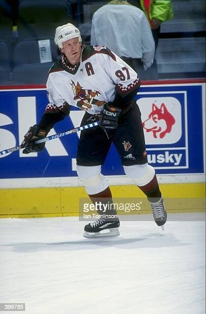 Center Jeremy Roenick of the Phoenix Coyotes in action during a game against the Calgary Flames at the Canadien Airlines Saddledome in Calgary,...