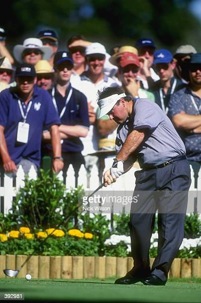 Craig Parry of Australia tees of on the first hole during the 1998 Presidents Cup at the Royal Melbourne Golf Course in Melborne Australia The...