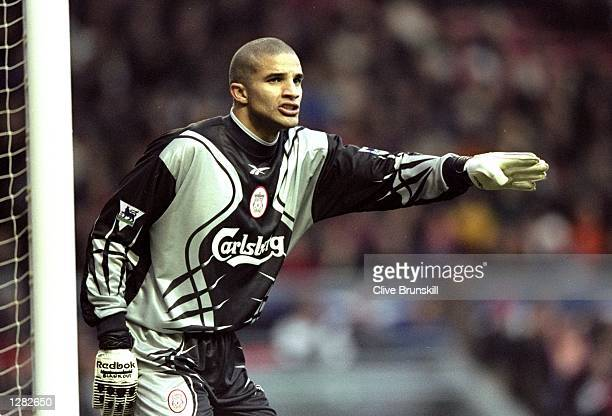 David James in goal for Liverpool against Sheffield Wednesday in the FA Carling Premiership match at Anfield in Liverpool England Liverpool won 20...