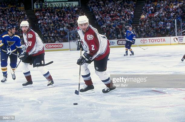 Defenseman Sylvain Lefebvre of the Colorado Avalanche in action during the game against the St Louis Blues at McNichols Sports Arena in Denver...
