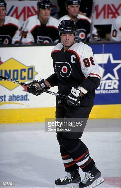 Eric Lindros of the Philadelphia Flyers in action during the game against the Boston Bruins at the Fleet Center in Boston Massachusetts The Flyers...