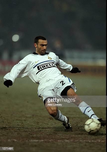 Giuseppe Bergomi of Inter Milan in action against Sturm Graz in the UEFA Champions League match at the Arnold Schwarzenegger Stadion in Graz Austria...