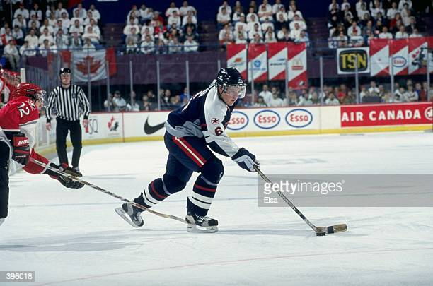 Jeffrey Jillson of Team USA in action during the World Junior Hockey Championships Game against Team Canada at the Winnepeg Arena in Winnepeg...