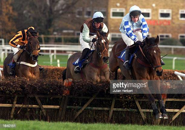 Jim Culloty and Native King clear the final hurdle at Sandown Park to go on and win The Bovis Europe Novice Hurdle Race Mandatory Credit Julian...