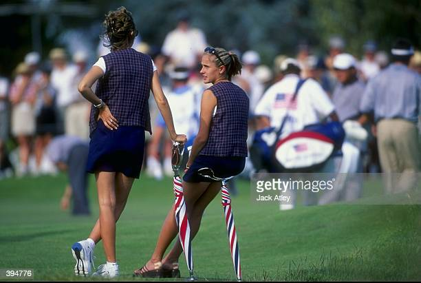Joanna Jolada who is Tiger Woods girlfriend sits with Thais Couples Fred Couples wife during the 1998 Presidents Cup at the Royal Melbourne Golf...