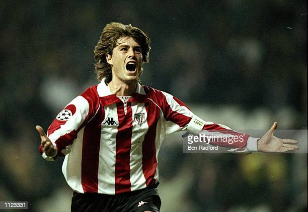 Julen Guerrero of Athletic Bilbao scores a goal during the the European Champions League match against Galatasary at the San Mames Stadium in Bilbao,...