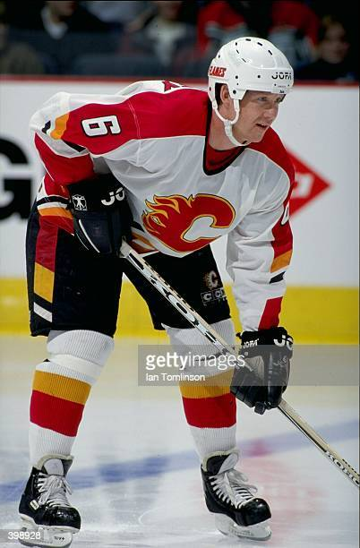 Phil Housley of the Calgary Flames waits for the puck during the game against the Philadelphia Flyers at the Canadien Airlines Saddledome in Calgary...