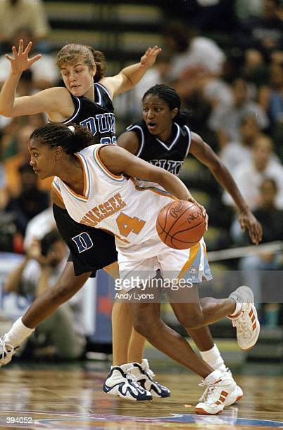 Tamika Catchings of the Tennessee Lady Volunteers in action during the Elite Four Classic against the Duke Blue Devils at the Disney''s Wide World of...