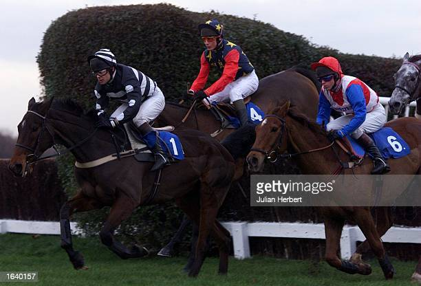 Thermal Warrior and Carl Llewellyn pull away from the third open ditch at Sandown Park before going on to win The Bovis Lelliott Handicap Steple...