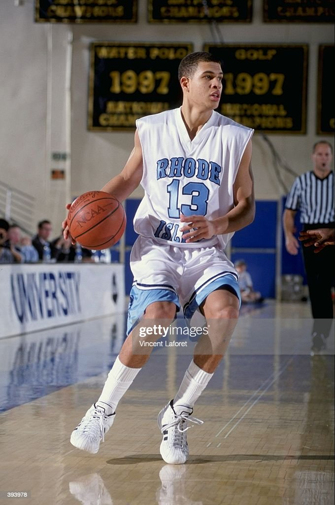 425c6427 Tip Vinson of the Rhode Island Rams dribbles during the Sparkletts ...
