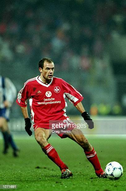 Uwe Rosler of Kaiserslautern lays the ball off during the UEFA Champions League match against Helsinki at the Fritz Walter Stadion in Kaiserslautern...