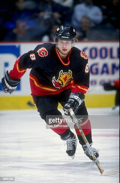 Valeri Bure of the Calgary Flames in action during the game against the Phoenix Coyotes at the Canadien Airlines Saddledome in Calgary Alberta Canada...