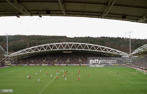 A general view during the FA Cup Round 3 match between Huddersfield and Liverpool played at the McAlpine Stadium in Huddersfield England Liverpool...