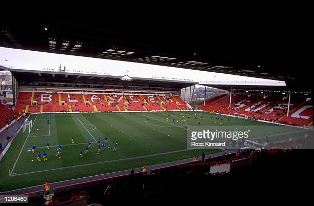 A general view of Bramall Lane in Sheffield the home of Sheffield United before the FA Cup Third Round match against Rushden and Diamonds of the...