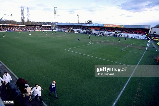 A general view of Edgar Street in Hereford the home of Hereford United before the FA Cup Third Round match against Leicester City The game finished...