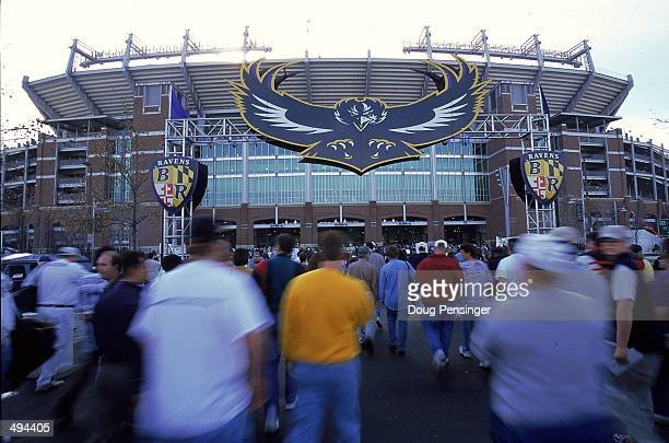 A shot of the Stadium exterior before the game between the Tennessee Titans and the Baltimore Ravens at the PSINet Stadium in Baltimore Maryland The...