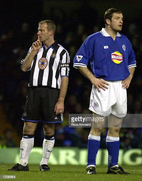 Alan Shearer of Newcastle and Gerry Taggart of Leicester during the Leicester City v Newcastle United FA Carling Premiership match at Filbert St...