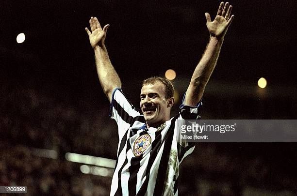 Alan Shearer of Newcastle celebrates during the FA Cup 3rd Round Replay against Tottenham Hotspur played at at St James Park in Newcastle England...