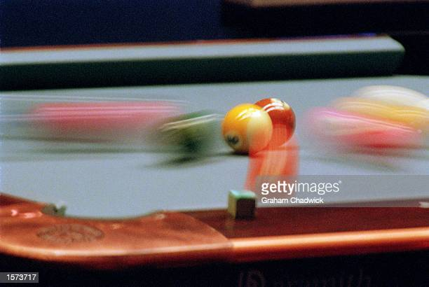An exploding pack during The Mosconi Cup between the USA and Europe held at York Hall in London Mandatory Credit Graham Chadwick /Allsport