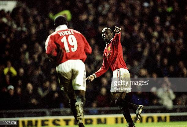 Andy Cole of Manchester United celebrates his goal against Bradford City during the FA Carling Premiership match at Old Trafford in Manchester...